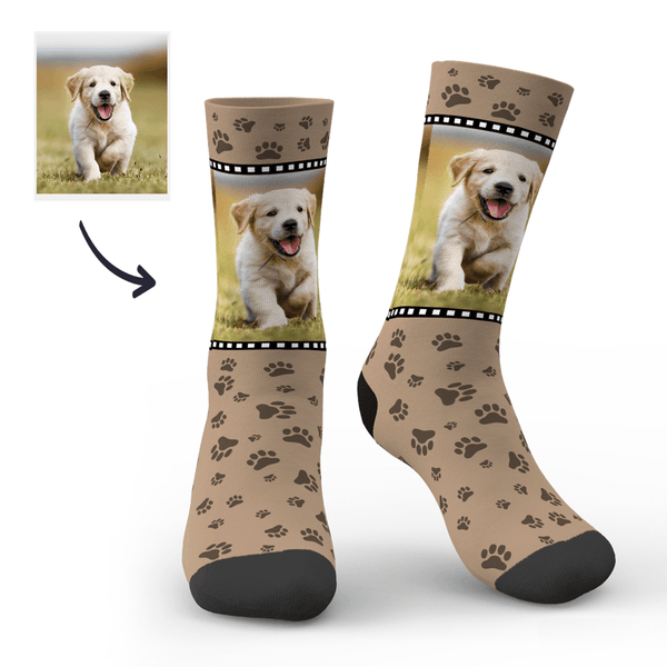 Custom Cute Dog Footprint Face sock