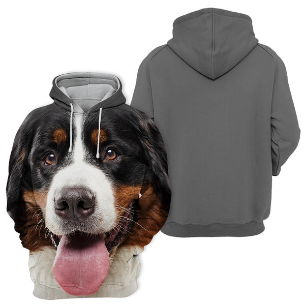 Unisex 3D Graphic Dog Hoodies - Cute Bernese Mountain