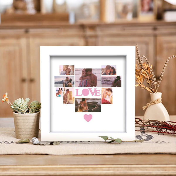 BEST GIFTS-Personalized Photo Frame 9 Pictures with Love Heart Shaped Pink Heart  Gift