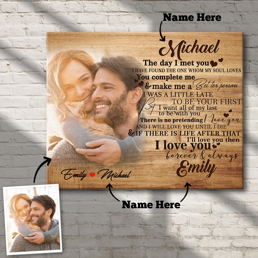 Custom Photo Wall Decor Painting Canvas With Couple Name Personalized Gifts