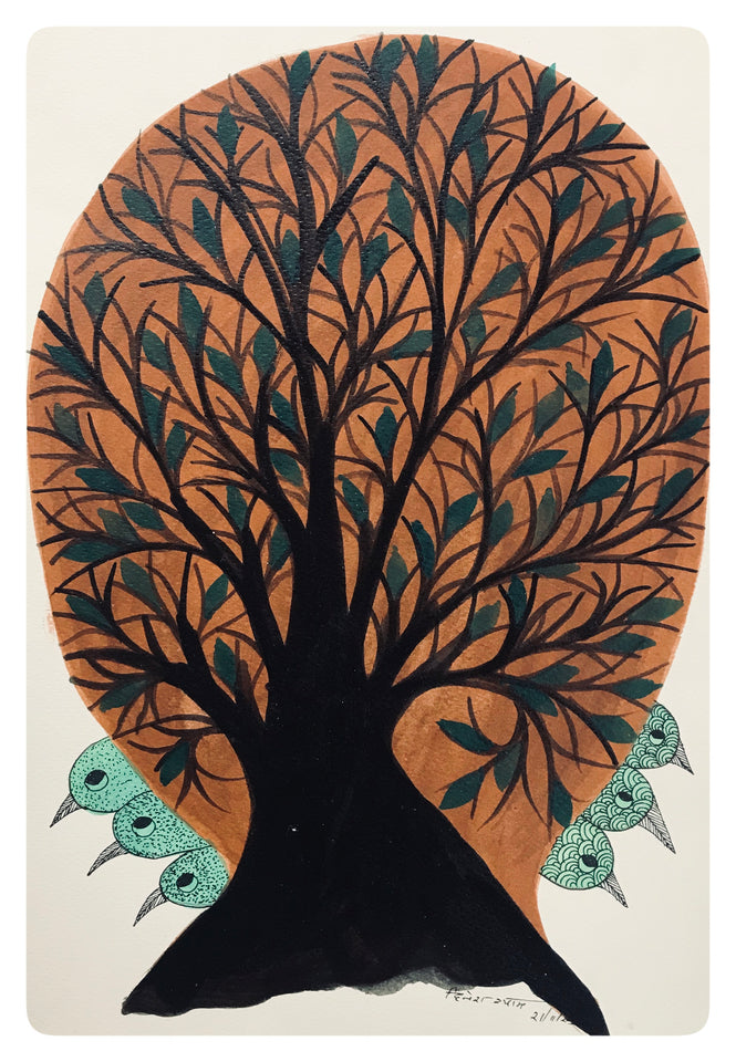 Gond Painting 10x14 Tree GD001