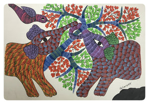 Gond Painting 14x10 Elephant GD005