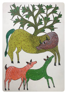 Gond Painting 10x14 Cow & Tree GD007