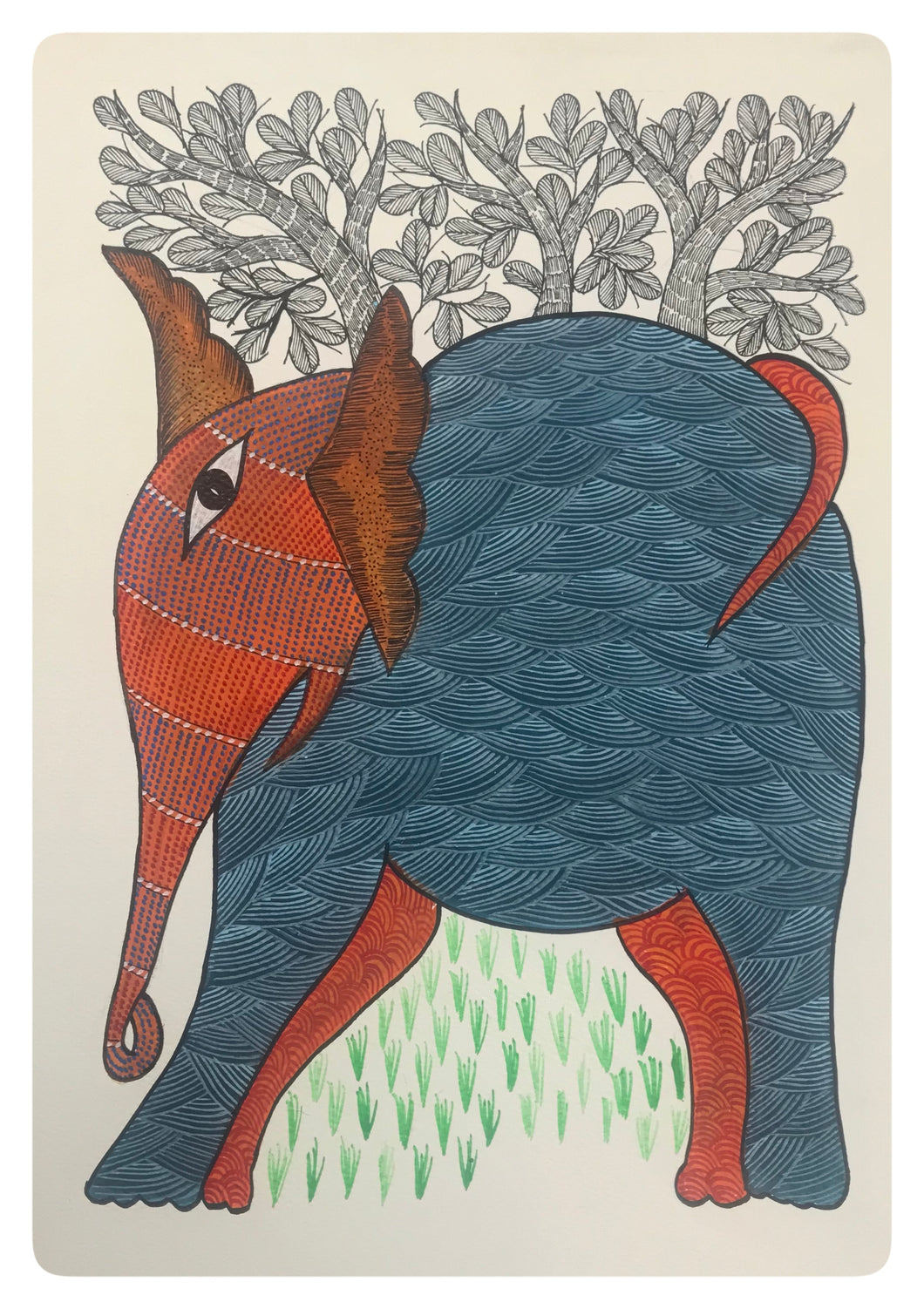 Gond Art 15x11 Inch Elephant GD016