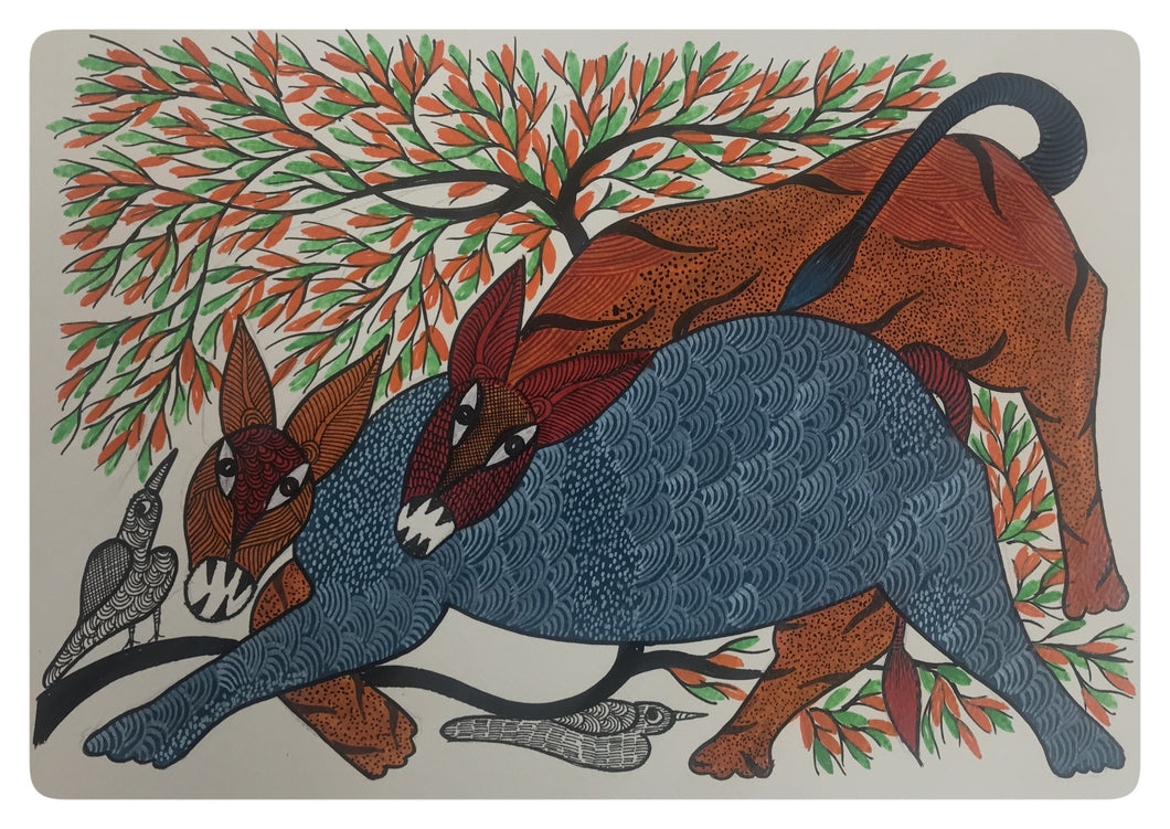 Gond Art 15x11 Bird And animals Inch GD017
