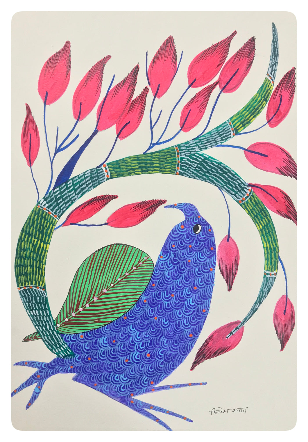 Gond Art 15x11 Inch Bird GD030