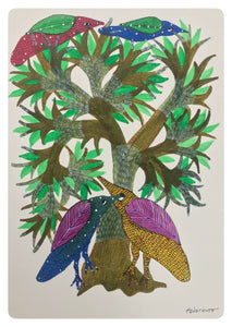 Gond Art 15x11 Inch 4 birds And Tree GD031