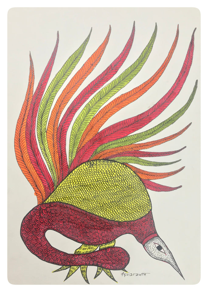 Gond Art 15x11 Inch Bird GD033