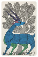 Load image into Gallery viewer, Gond Art 16x12 inch Deer GD040