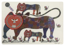 Load image into Gallery viewer, Gond Art 16x12 inch 3 Lions GD045