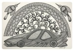 Gond Art 16x12 inch Car GD046