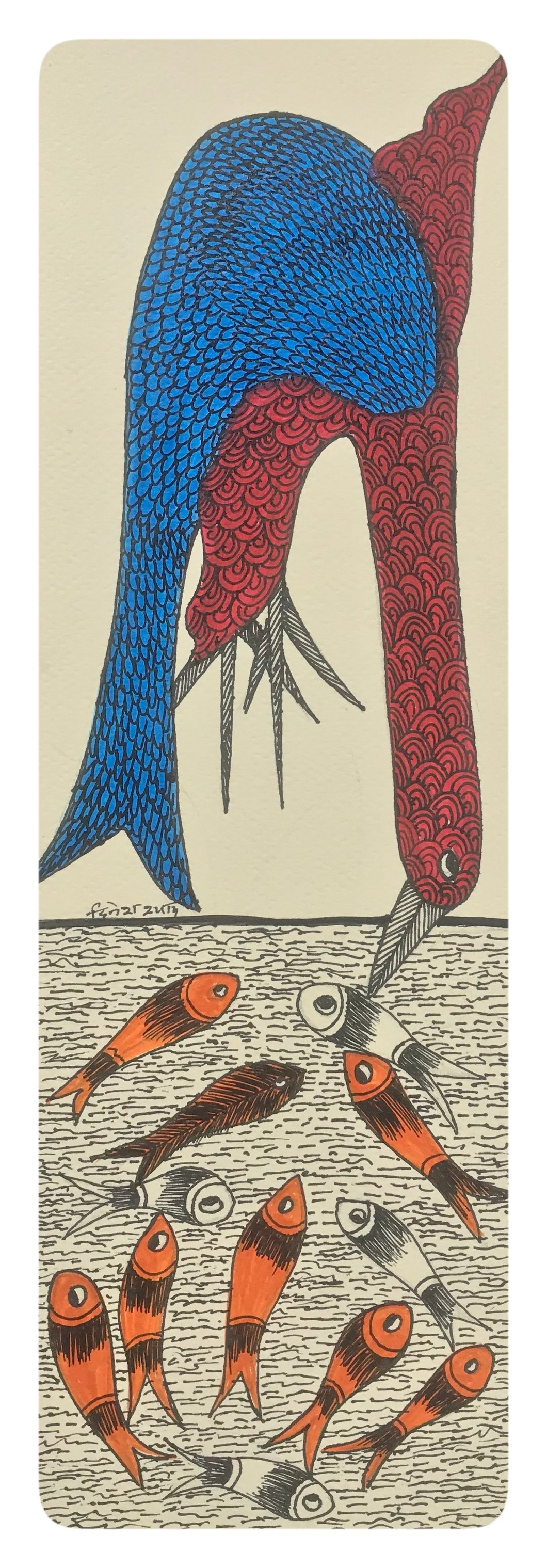 Gond Art 14x5 Inch Fish & Cormorans GD048