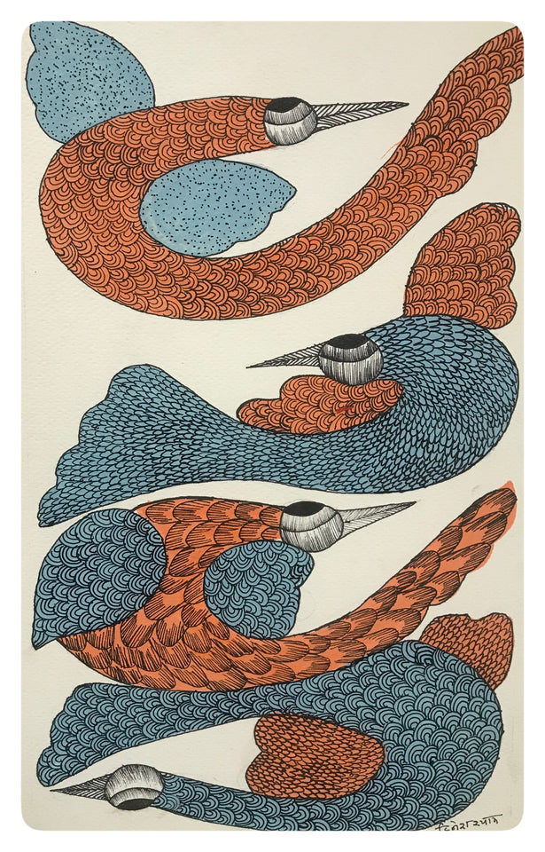 Gond Art 14x9 Inch Birds GD057