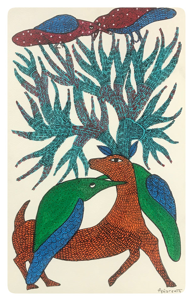 Gond Art 14x9 Inch Animals & Birds GD058