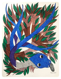 Gond Art 14x11 Inch Snake & Tree GD061