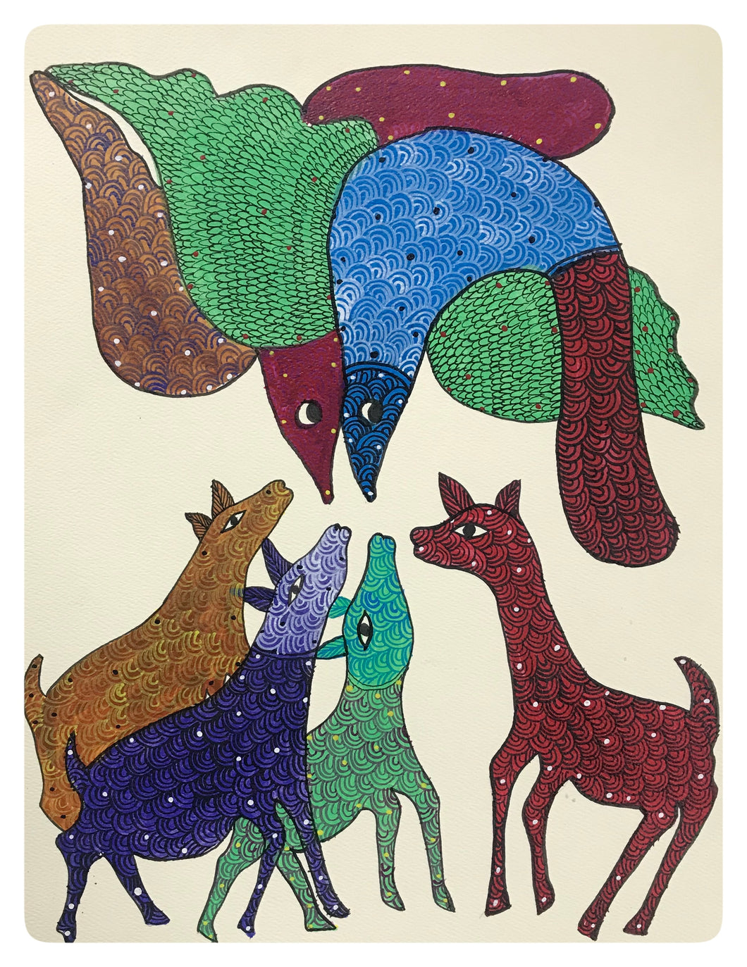 Gond Art 13x10 Inch Animals GD067