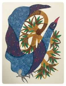 Gond Art 13x10 Inch Bird & Tree GD069
