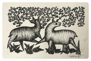 Gond Art 8x6 Inch Animals GD070