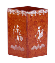 Load image into Gallery viewer, Warli Art Square Pen Stand