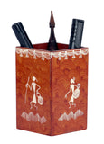 Warli Art Square Pen Stand