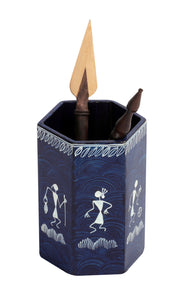 Warli Art Pen Stand Hexagonal