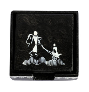 Warli Art Tea Coaster Square