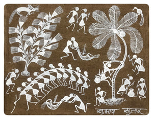 Warli Art 10x12 Inch Village WL017