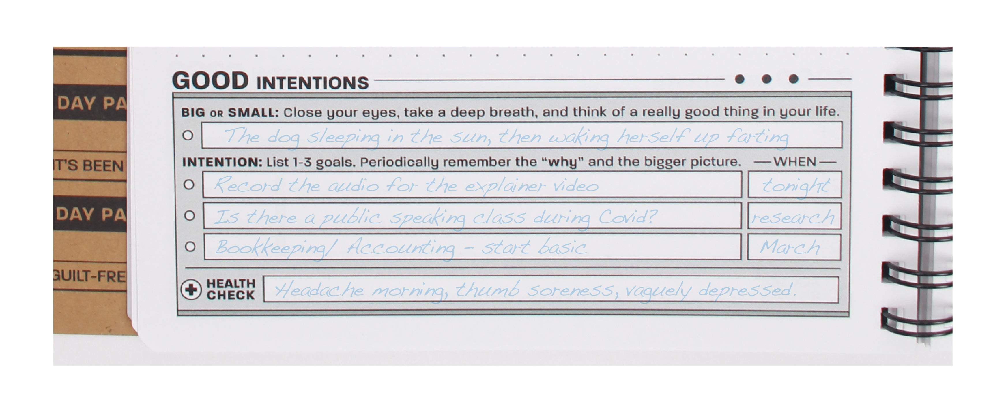"Practice Workbook showing the ""Intentions"" section of the boot up exercise"