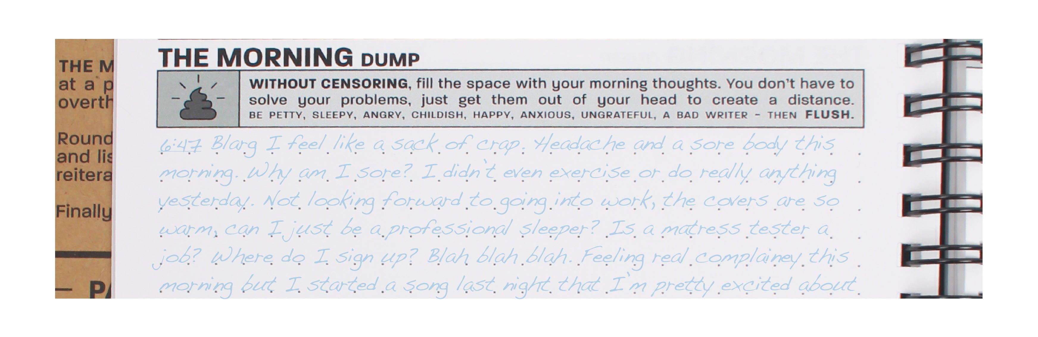 "Practice Workbook showing the ""Morning Dump"" section of the Boot Up Exercise"