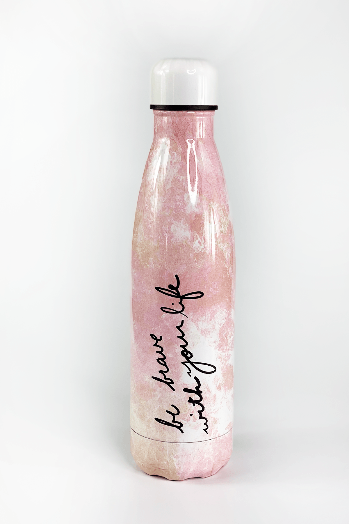Be Brave with Your Life Pink Marble Thermos 18oz