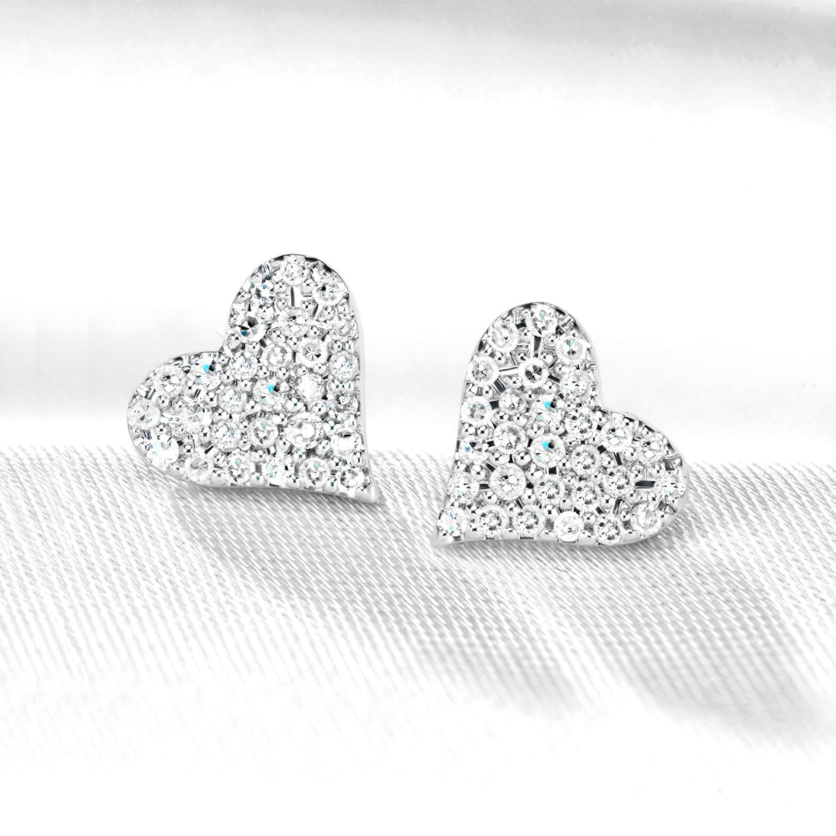 Heartfelt Diamond Stud Earrings Set