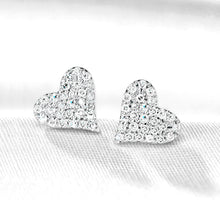 Heart Diamond Stud Earrings in Sterling Silver