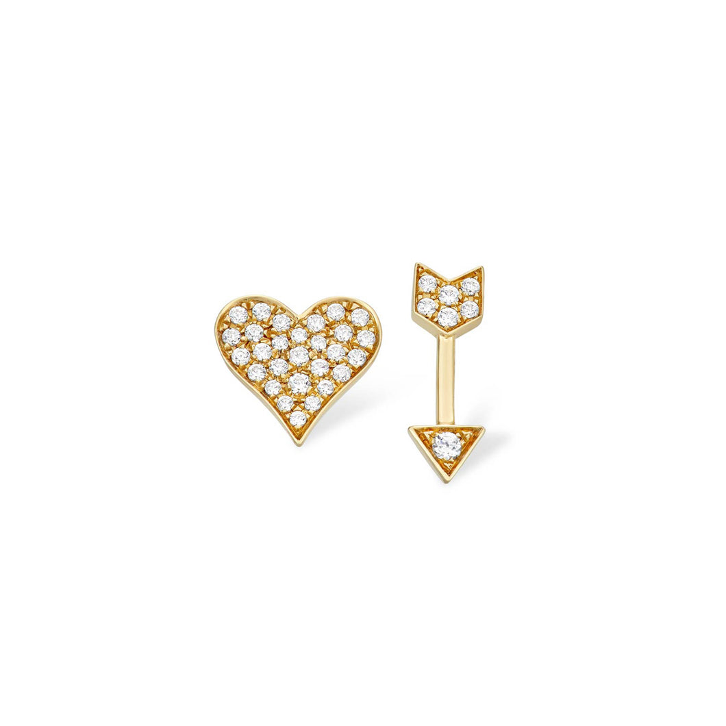 Heart & Arrow Diamond Stud Earrings