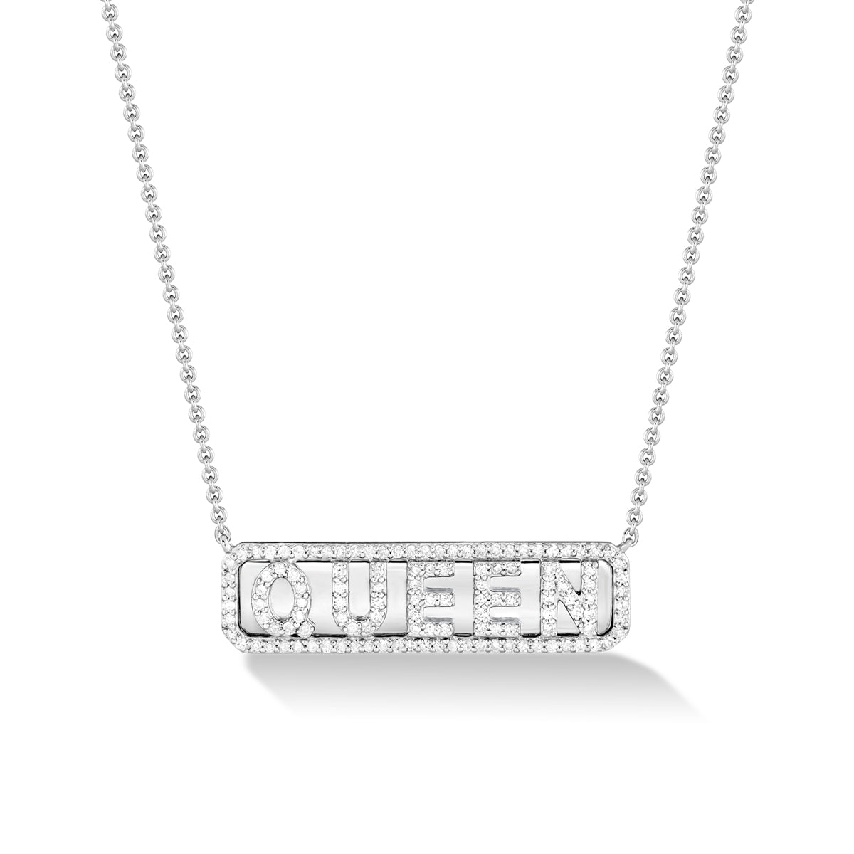 Sterling Silver 'Queen' ID Necklace