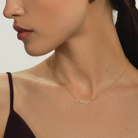 'Queen' Message Necklace - Serena Williams Jewelry