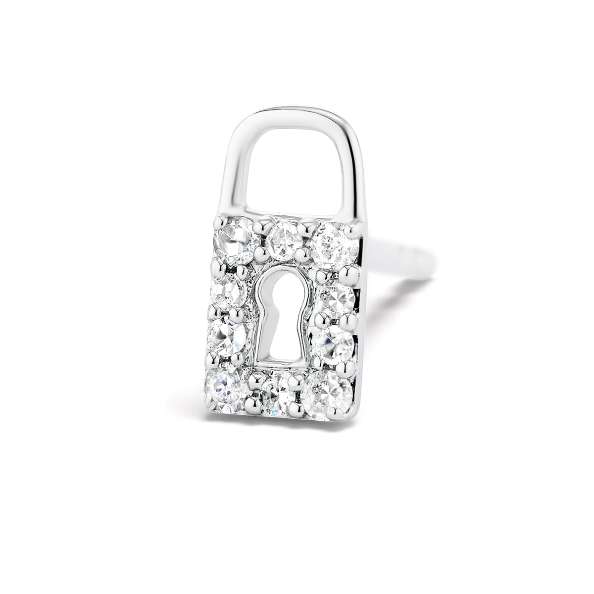 Lock & Key Diamond Stud Earrings