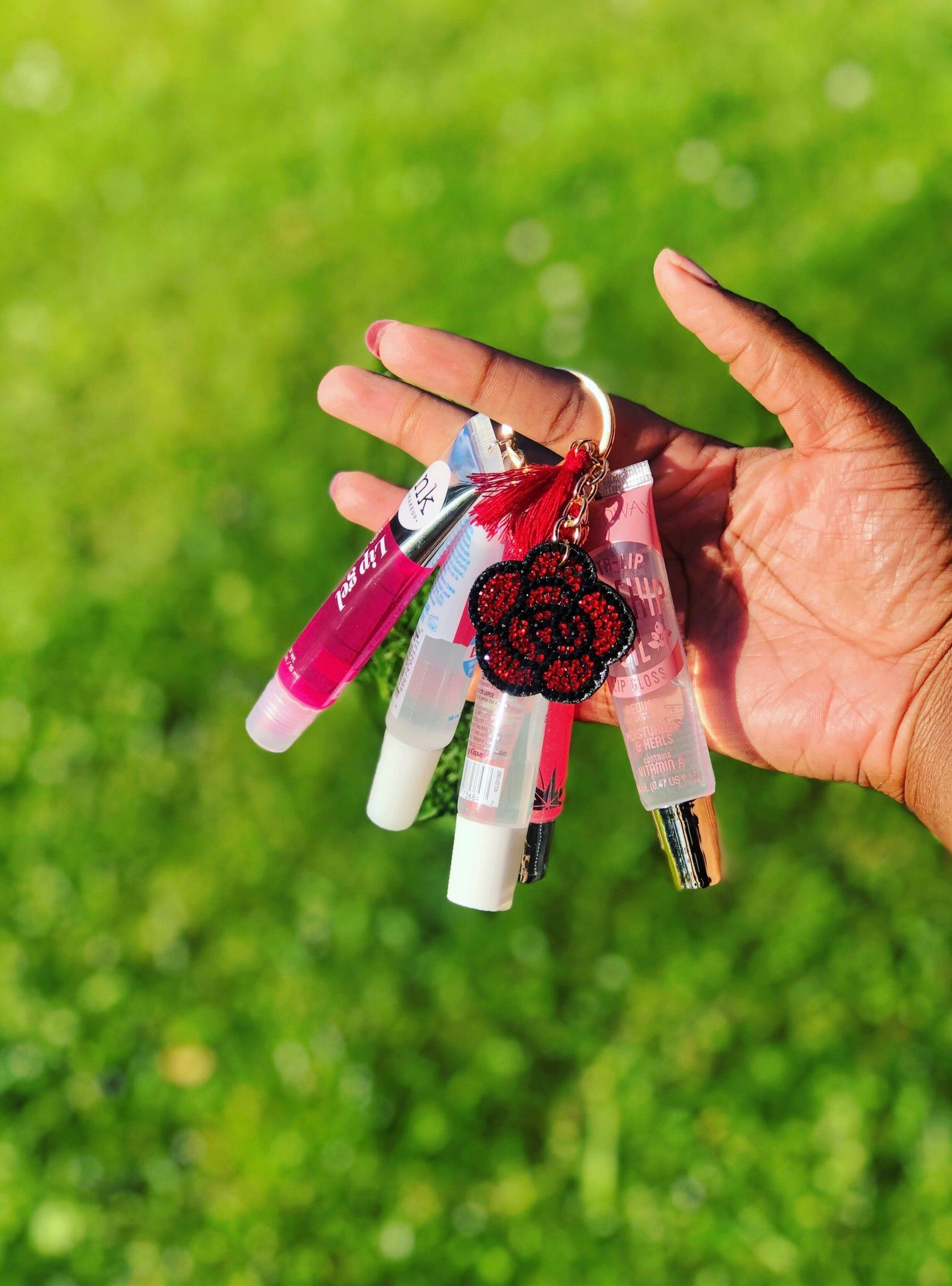 Red Flower Lipgloss Keychain