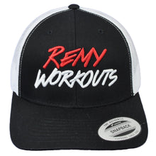 Load image into Gallery viewer, RemyWorkouts Mesh White Black Hat Cap Snapback