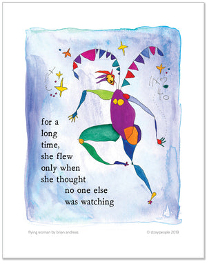Flying Woman Color Wash Prints