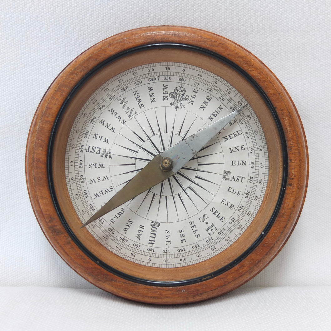 Francis Barker Wooden Desk Compass c.1890 | Compass Library