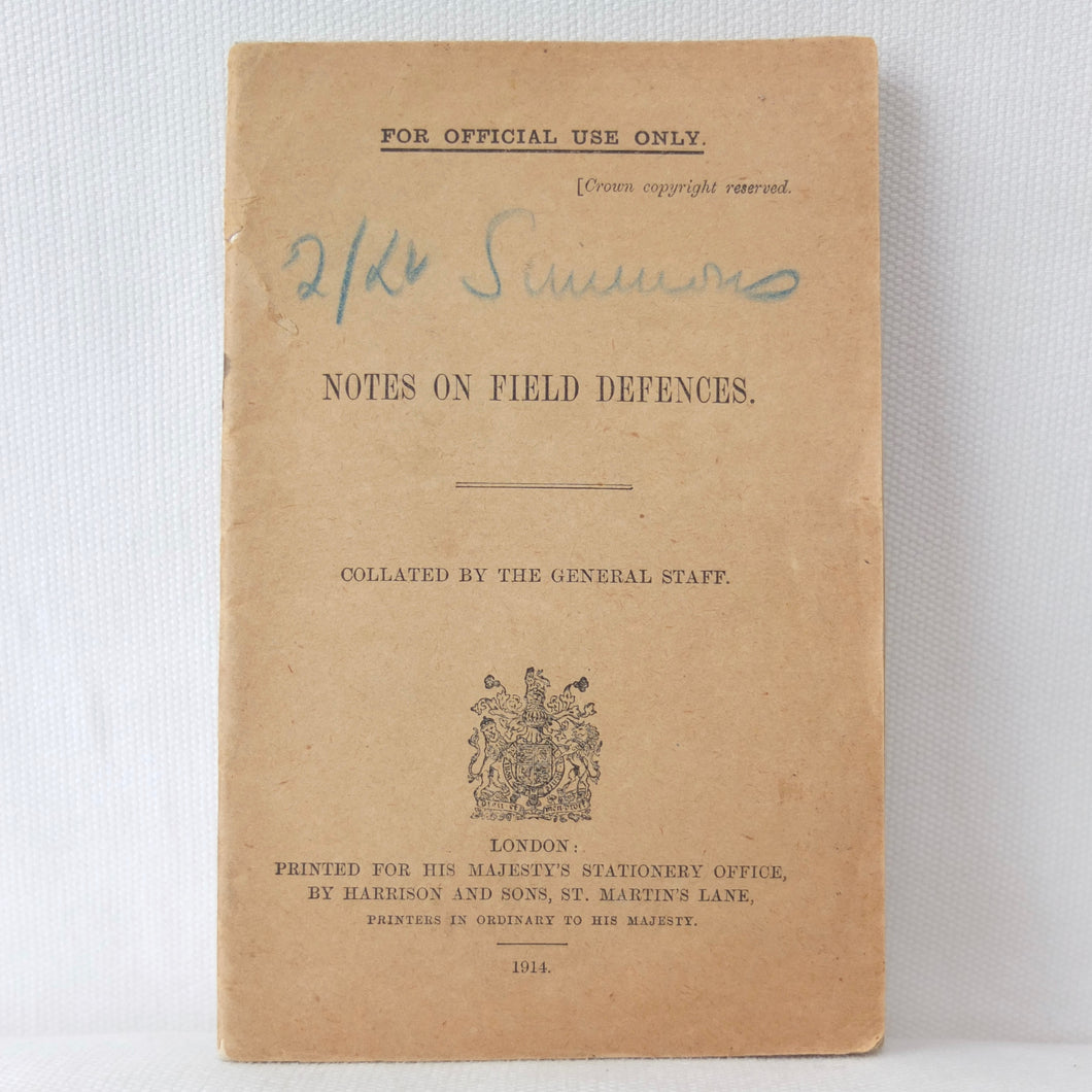WW1 Trench Warfare Manual | Notes on Field Defences 1914
