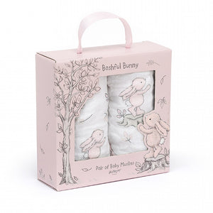 JELLYCAT Bashful Bunny Boxed of 2 Muslins   Pink