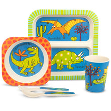 Load image into Gallery viewer, Tyrell Katz Dinosaur Design 5pce Bamboo Dinner Set
