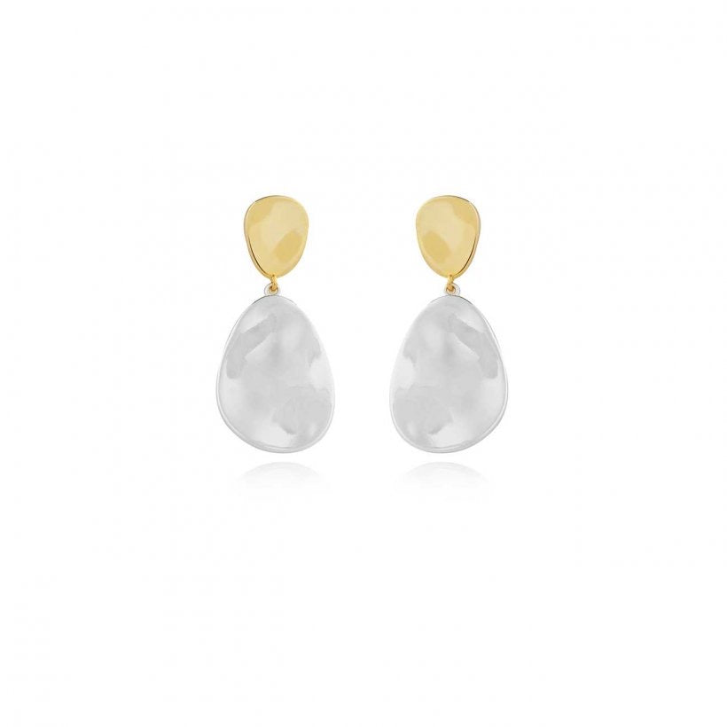 Joma Jewellery - Statment Earrings - Two Tone Drop Pebble Earrings