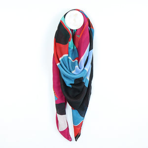 Bright Blue/Red Graphic Flower Print Large Square Scarf