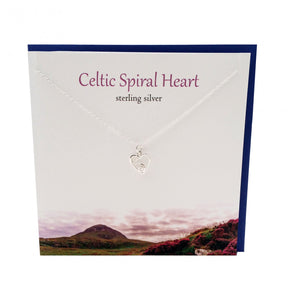 Silver Studio Sterling Silver Celtic Spiral Heart Pendant & Card