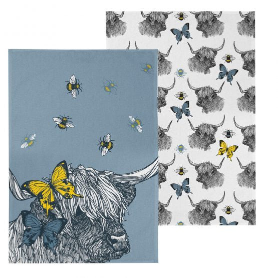 Gillian Kyle Highland Coo Tea Towels Pack of 2