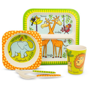 Tyrell Katz Jungle Design 5pce Bamboo Dinner Set