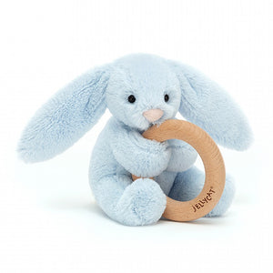 Bashful Blue Bunny Wooden Ring Toy