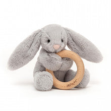 Load image into Gallery viewer, Bashful Silver Bunny Wooden Ring Toy
